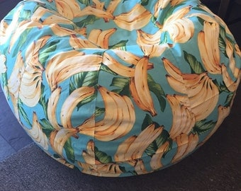 GO Bananas Tropical bean bag chair in blue yellow UNFILLED with both cover and liner