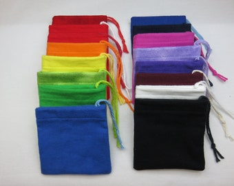 Set of 16 Mixed Colors, Multi Pack, Solid Cotton Flannel Hoo Doo Baggies, handmade