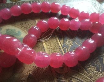 Vintage Glass Beads (8)(12-13mm) Handmade Japanese Creamy Rose Baroque Beads