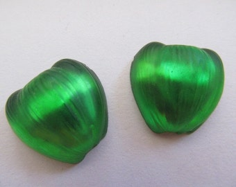 Vintage Glass Cabochon (2) Stunning Green Apple Stones Cabs