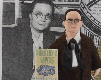 Dorothy Sayers Doll Miniature Author and Writer Art Collectible
