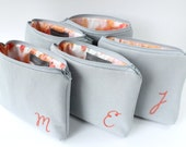 Personalized Makeup Bags, Gray and Coral Monogram Cosmetic Cases, Set of 5 Monogram Bridesmaid Gifts