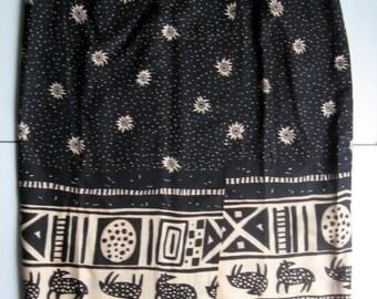 Vintage Wrap Skirt, Long Skirt, Sarong Skirt, Tribal, Sunshine, Boho Skirt, Summer Skirt, Women's Skirt, 1980's, Bohemian, Black, Tan