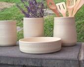Ceramic Utensil Holder, Utensil Storage, Kitchen Tool Holder, Crock, Farmhouse Pottery, Spoon Holder, White Kitchen Decor, Kitchen Spoon Jar