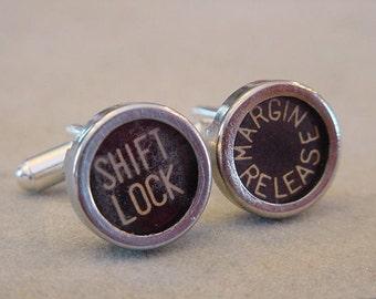 Vintage Typewriter key Cuff links  SHIFT LOCK  MARGIN Release - Men's Cuff Links Mens  jewelry gift