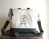 Work apron canvas crossbody, shoulder bag, iPad -  - eco vintage fabrics