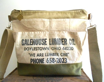 Lumber apron military canvas carryall, crossbody tote bag - Doylestown Ohio - eco vintage fabrics