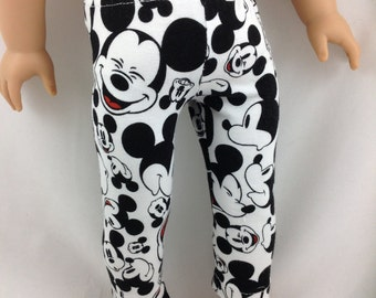 Knit Stretch Leggings for American Girl Doll Mickey Mouse all over Disneyland Disney World Black and White vacation