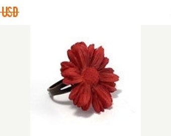 ON SALE Red Daisy Ring