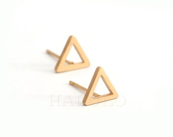 Golden Triangle Stainless Steel Geometric Earring Stud Post Finding (EH018B)