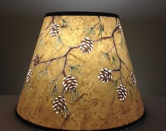 Cut & Pierced Pine Cone Lampshade - Lamp Shade - Pine Cones -Paper - Lamp Shade - Pierced Lampshade - Reverse Painted - Handmade -