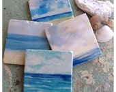 Ocean View stone coaster set - tumbled marble - watercolor painting