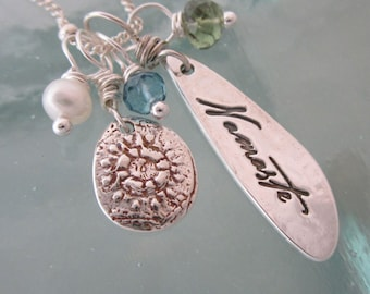 Handcrafted Silver Yoga Charm Necklace - Namaste, Lace, Freshwater Pearl, Peridot and Blue Topaz