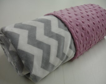 Gray Chevron with Rose Pink Double Sided Minky Blanket 25 x 34 READY TO SHIP On Sale