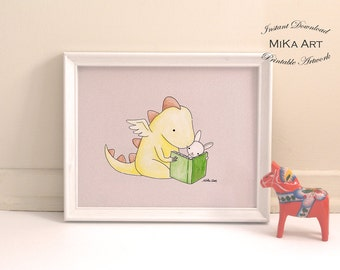 Nursery Decor Printable Nursery Wall Art Dragon & Bunny Reading Book Illustration Print Kids Room Wall Decor Instant Download Digital Print
