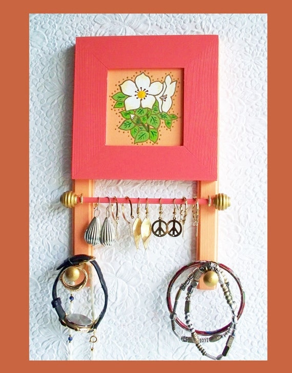 small bathroom jewelry holder coral sunset wall jewelry