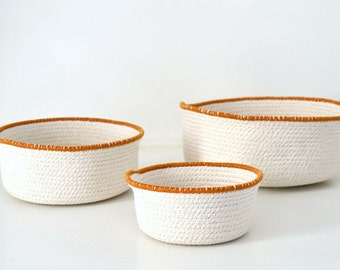 Centrepiece bowls, Camel and white Fabric coiled bowls, Cotton housewares, Stylish simple decor, Beach decor Rope basket Mediterranean decor