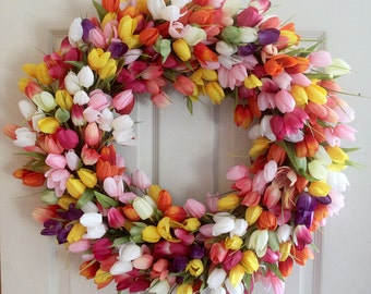 Extra large mixed  tulip spring wreath, summer wreath for front door, Spring decor, home decor,