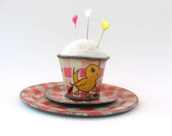 SHOP CLOSING SALE - Pin Cushion - Needle Felted - In Vintage Child's Tin Cup And Saucers - Red, Yellow, White - Duck - Gingham