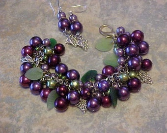 Glass Pearls-Beaded Bracelet w/Matching Earrings ''It's a Grape Jelly with my Biscuits Sort of Day''-Purple, Plum, Green Beads-Glass Leaves