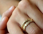 Valentines Day Sale 14k Gold Branch Pebble Set | Stacking Rings | Nature Inspired Rings