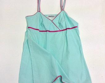 Retro style Aqua Cotton Cami Slip tunic with Rick Rack trim