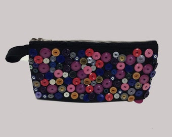 Handmade Button Crusted Oversized Clutch Bag