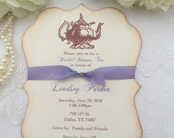 Tea Party Invitations Bridal Shower in Lavender Set of 10 Engagement Large Teapot Printed Invitations