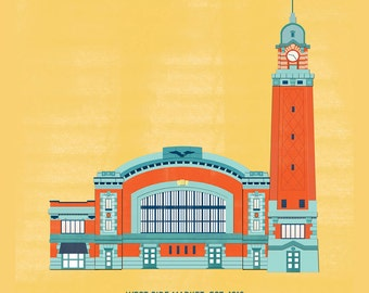 West Side Market, Cleveland Building Illustration: 11x11 Poster