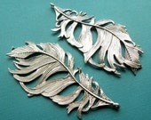 Silver Feather Pendant - 1 Piece - 86mm Large Antique Silver Finish Focal Statement Charm (SC0111)