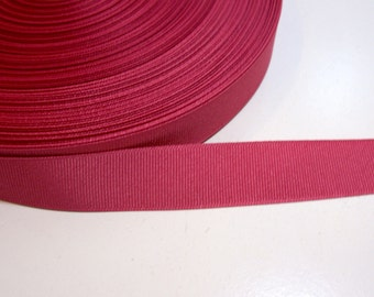 Red Pink Ribbon, Victorian Rose Grosgrain Ribbon 7/8 inch wide x 10 yards, SECOND QUALITY FLAWED