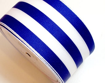 Wired Ribbon, Blue and White Stripe Grosgrain Wired Fabric Ribbon 2 1/2 inches wide x 5 yards, Offray Mono Stripe Ribbon