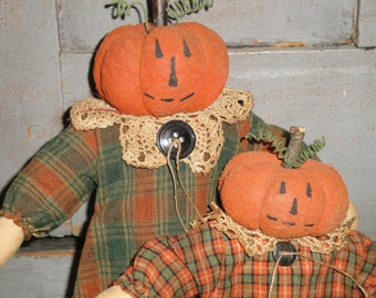 Cloth Dolls Primitive | SET OF 2 Handmade Cloth Pumpkin Head Sister Dolls Dressed In Homespun Fabric |  Cupboard Tucks | Standing Dolls