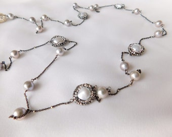 Pearl Necklace - Long Necklace - Long Pearl Necklace - Statement Pearl Necklace