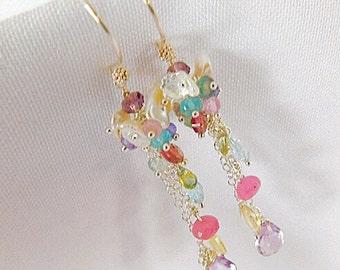 Pearl Earrings - Multi Gem Earrings - Amethyst Earrings - Tourmaline Earrings