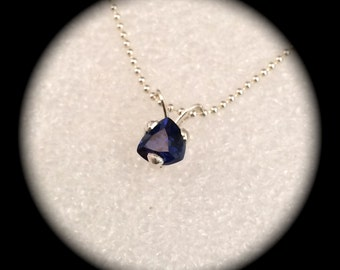Sapphire pendant - September Birthstone - sterling silver setting and chain - deep Blue
