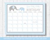 Elephant Birthday Predictions Calendar / Elephant Baby Shower / Blue Elephant / Baby Shower Game / INSTANT DOWNLOAD Editable PDF
