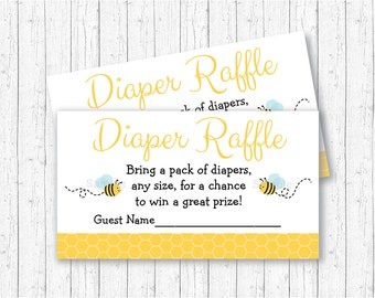 Bumble Bee Diaper Raffle Tickets / Bumble Bee Baby Shower / Bee Baby Shower / Baby Boy Shower / INSTANT DOWNLOAD