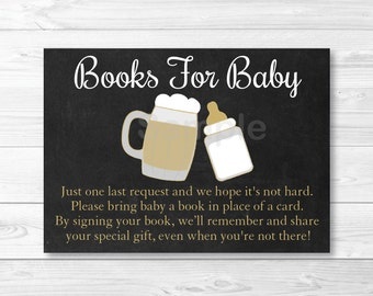 BBQ Baby Shower Book Request Cards / Baby Is Brewing / Beer Baby Shower / BaByQ / Printable INSTANT DOWNLOAD A116