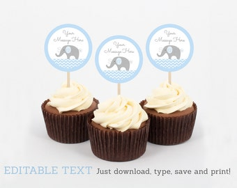 Cute Elephant Cupcake Toppers / Elephant Baby Shower / Chevron Pattern / Blue Elephant / Baby Boy Shower / INSTANT DOWNLOAD Editable PDF