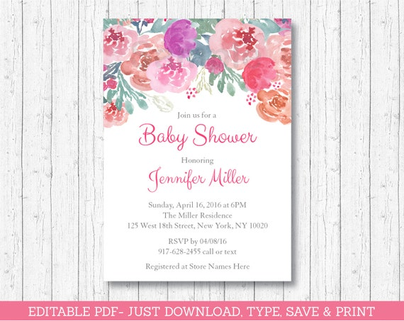 Pink Floral Baby Shower Invitation Floral Baby Shower Invite