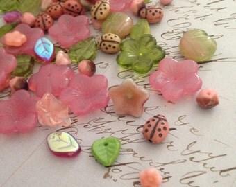 Flora Botanica Bead Mix - Blushy Blooms - 2oz Czech Pressed Glass English Cut Beads