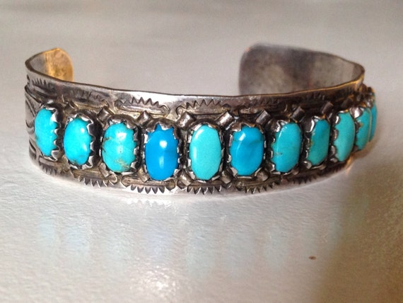 Zuni Sterling Silver Turquoise Cuff Bracelet