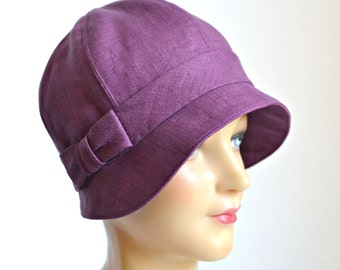 Linen Cloche with Bow - Women's Cloche Hat - Made to Order - 3 WEEKS FOR SHIPPING