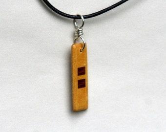 Handmade Purpleheart and Yellowheart Wood Pendant J160603