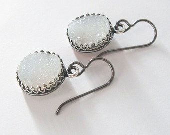 Natural White Druzy Earrings Antique Silver Crown Setting Filigree, Drusy Crystal Hypoallergenic Niobium Hooks or Sterling