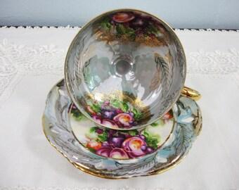 LM Royal Halsey Floral Fruit Lusterware Pedestal Teacup and Saucer