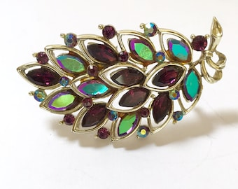 Lisner Silver Tone Vintage Leaf Brooch or Pin with Multicolor Green, Purple and Teal Jewels Signed