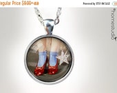 ON SALE Ruby Slippers : Glass Dome Necklace Pendant or Keychain Key Ring. Gift Present metal round art photo jewelry HomeStudio Silver Coppe