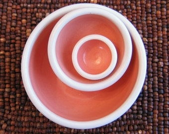 Tiny Ceramic Nesting Bowls - Stoneware Pottery Prep Set in Coral Pink